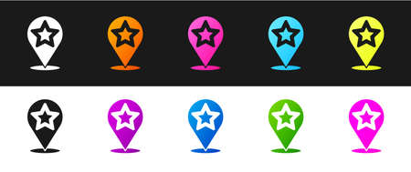 Set Map pointer with star icon isolated on black and white background. Star favorite pin map icon. Map markers. Vector