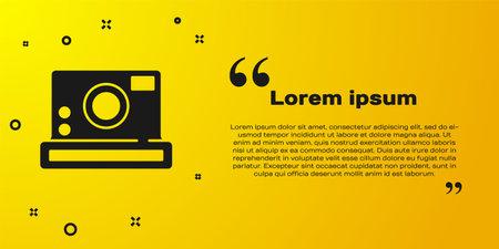Black Photo camera icon isolated on yellow background. Foto camera icon. Vector