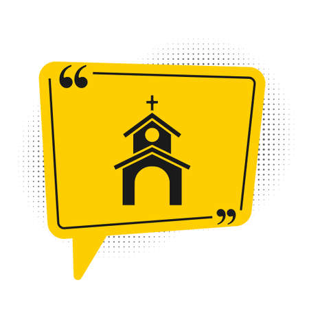 Black Church building icon isolated on white background. Christian Church. Religion of church. Yellow speech bubble symbol. Vector