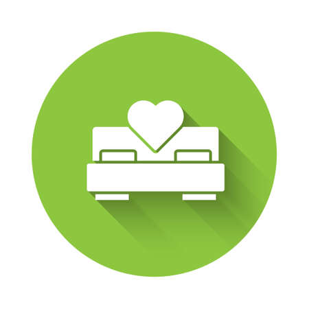 White Bedroom icon isolated with long shadow. Wedding, love, marriage symbol. Bedroom creative icon from honeymoon collection. Green circle button. Vector 일러스트