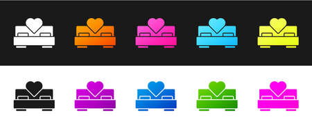 Set Bedroom icon isolated on black and white background. Wedding, love, marriage symbol. Bedroom creative icon from honeymoon collection. Vector