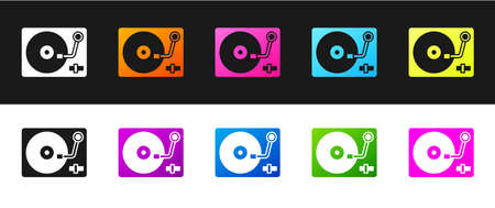 Set Vinyl player with a vinyl disk icon isolated on black and white background. Vector  イラスト・ベクター素材