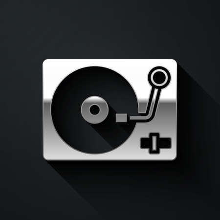 Silver Vinyl player with a vinyl disk icon isolated on black background. Long shadow style. Vector