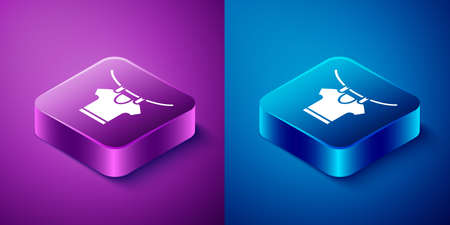 Isometric Drying clothes icon isolated on blue and purple background. Clean shirt. Wash clothes on a rope with clothespins. Clothing care and tidiness. Square button. Vector 矢量图像