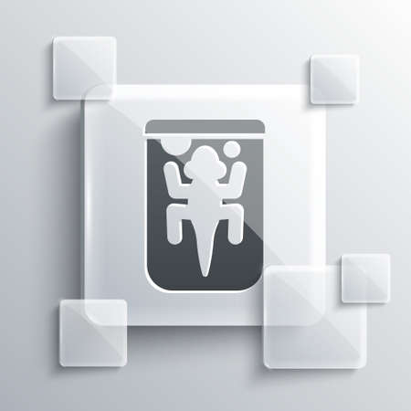 Grey Experimental animal icon isolated on grey background. Square glass panels. Vector Ilustrace