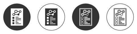Black Medical clipboard with clinical record icon isolated on white background. Health insurance form. Prescription, medical check marks report. Circle button. Vector  イラスト・ベクター素材