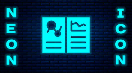 Glowing neon Medical clipboard with clinical record icon isolated on brick wall background. Health insurance form. Prescription, medical check marks report. Vector