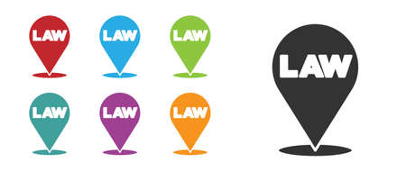 Black Location law icon isolated on white background. Set icons colorful. Vector