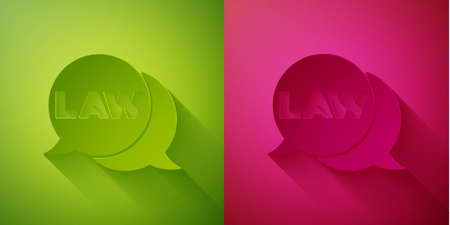 Paper cut Law icon isolated on green and pink background. Paper art style. Vector