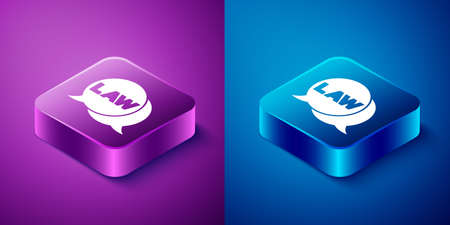 Isometric Law icon isolated on blue and purple background. Square button. Vector Illustration