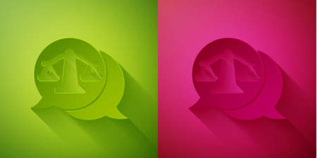 Paper cut Scales of justice icon isolated on green and pink background. Court of law symbol. Balance scale sign. Paper art style. Vector Illustration