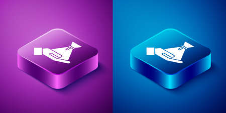 Isometric Bribe money bag icon isolated on blue and purple background. Bill currency. Square button. Vector