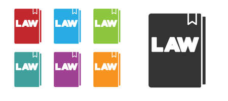 Black Law book icon isolated on white background. Legal judge book. Judgment concept. Set icons colorful. Vector