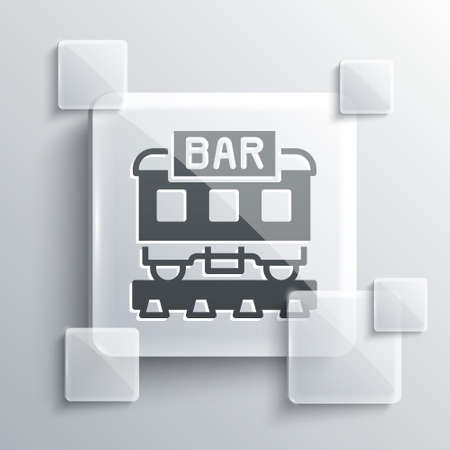 Grey Restaurant train icon isolated on grey background. Square glass panels. Vector