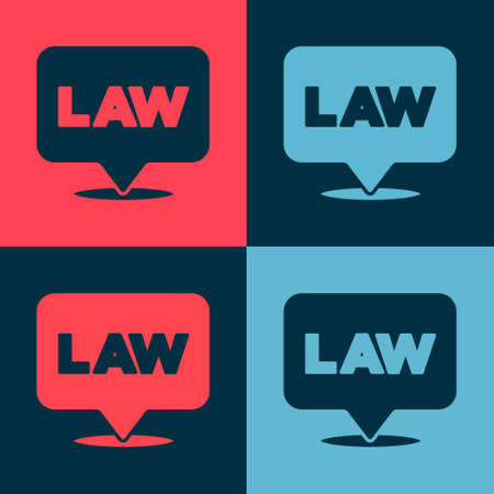 Pop art Location law icon isolated on color background. Vector Illustration