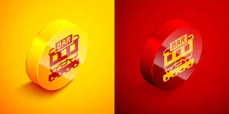 Isometric Restaurant train icon isolated on orange and red background. Circle button. Vector