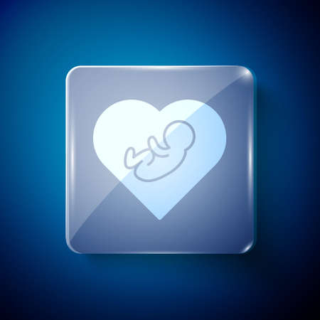 White Baby inside heart icon isolated on blue background. Square glass panels. Vector