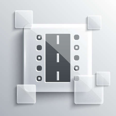Grey Airport runway for taking off and landing aircrafts icon isolated on grey background. Square glass panels. Vector Иллюстрация