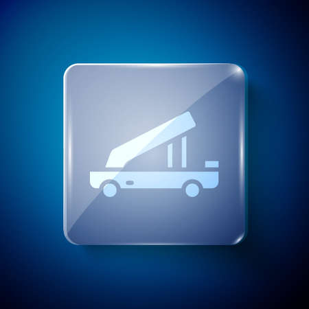 White Passenger ladder for plane boarding icon isolated on blue background. Airport stair travel. Square glass panels. Vector