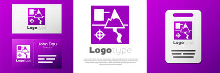 Logotype Folded map icon isolated on white background.