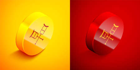 Isometric Crutch or crutches icon isolated on orange and red background. Equipment for rehabilitation of people with diseases of musculoskeletal system. Circle button. Vector