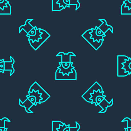 Green line Joker head icon isolated seamless pattern on blue background. Jester sign. Vector