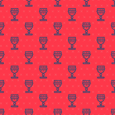 Blue line Medieval goblet icon isolated seamless pattern on red background. Vector Vectores