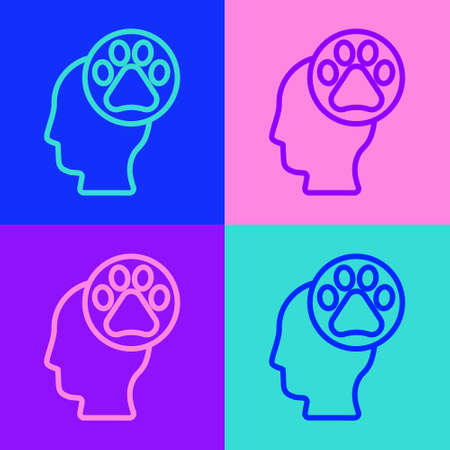 Pop art line Human head with animals footprint icon isolated on color background. Pet paw in heart. Love to the animals. Vector