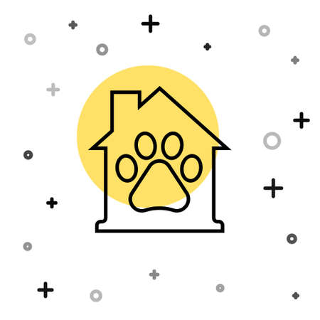 Black line Pet house icon isolated on white background. Random dynamic shapes. Vector