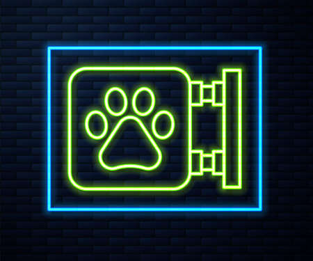 Glowing neon line Veterinary clinic symbol icon isolated on brick wall background. Cross hospital sign. A stylized paw print dog or cat. Pet First Aid sign. Vector
