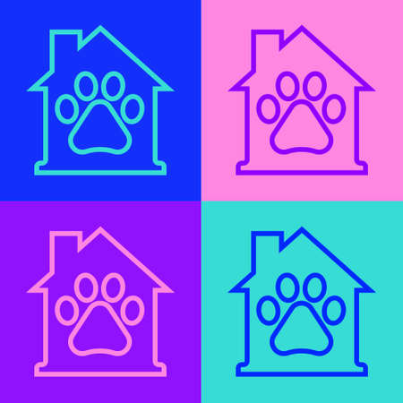 Pop art line Pet house icon isolated on color background. Vector Ilustrace