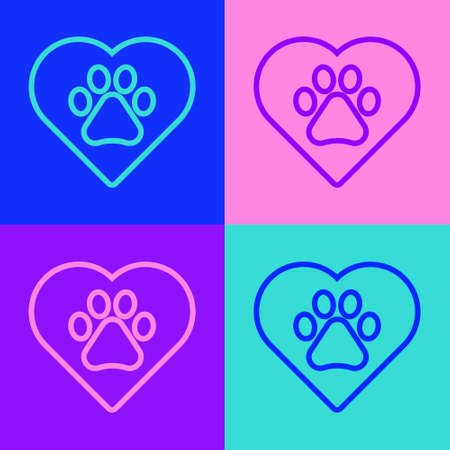 Pop art line Heart with animals footprint icon isolated on color background. Pet paw in heart. Love to the animals. Vector Ilustrace