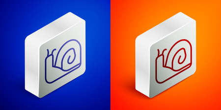 Isometric line Snail icon isolated on blue and orange background. Silver square button. Vector