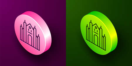 Isometric line Milan Cathedral or Duomo di Milano icon isolated on purple and green background. Famous landmark of Milan, Italy. Circle button. Vector