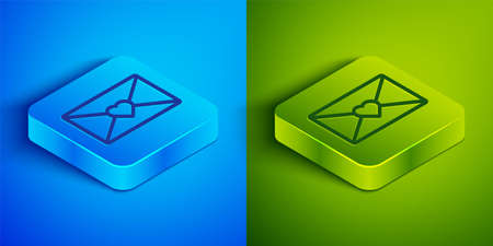 Isometric line Envelope with Valentine heart icon isolated on blue and green background. Message love. Letter love and romance. Square button. Vector  イラスト・ベクター素材