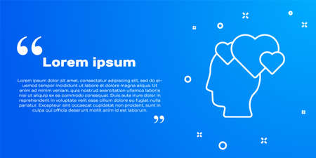 White line Human head with heart icon isolated on blue background. Love concept with human head. Vector