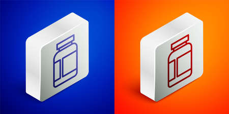 Isometric line Sports nutrition bodybuilding proteine power drink and food icon isolated on blue and orange background. Silver square button. Vector