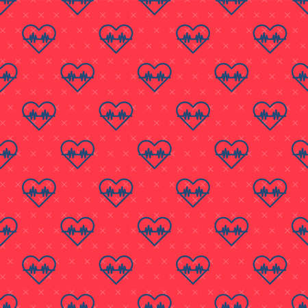 Blue line Heart rate icon isolated seamless pattern on red background. Heartbeat sign. Heart pulse icon. Cardiogram icon. Vector  イラスト・ベクター素材