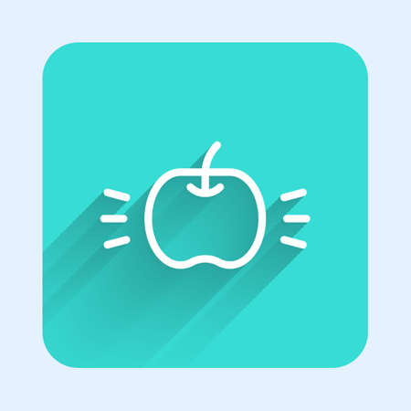 White line Apple icon isolated with long shadow. Fruit with leaf symbol. Green square button. Vector