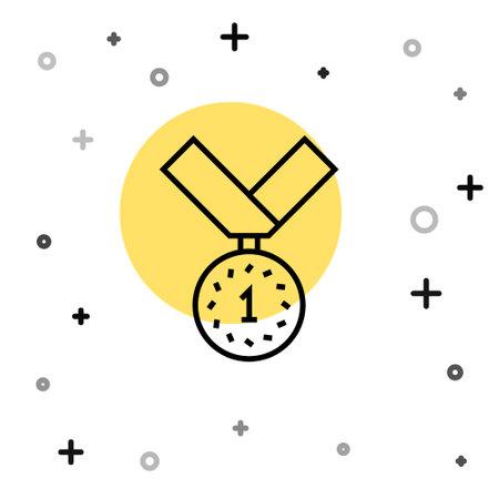 Black line Medal icon isolated on white background. Winner symbol. Random dynamic shapes. Vector