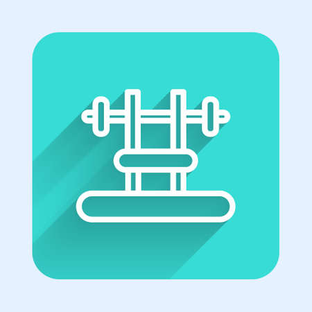 White line Bench with barbel icon isolated with long shadow. Gym equipment. Bodybuilding, powerlifting, fitness concept. Green square button. Vector