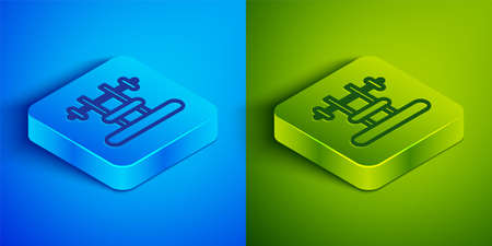 Isometric line Bench with barbel icon isolated on blue and green background. Gym equipment. Bodybuilding, powerlifting, fitness concept. Square button. Vector  イラスト・ベクター素材