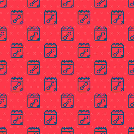 Blue line Calendar fitness icon isolated seamless pattern on red background. Training schedule. Vector