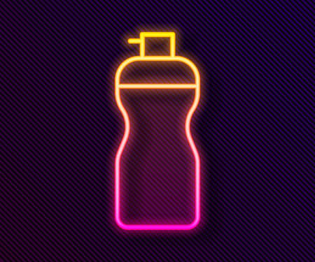 Glowing neon line Fitness shaker icon isolated on black background. Sports shaker bottle with lid for water and protein cocktails. Vector