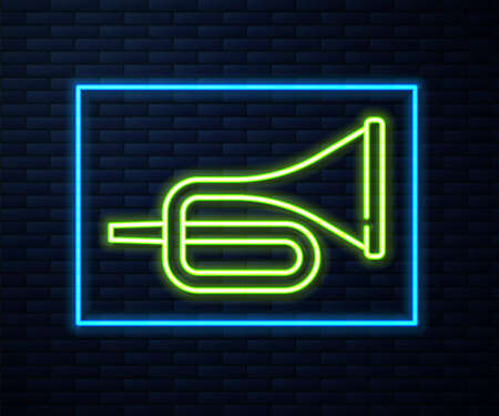 Glowing neon line Musical instrument trumpet icon isolated on brick wall background. Vector