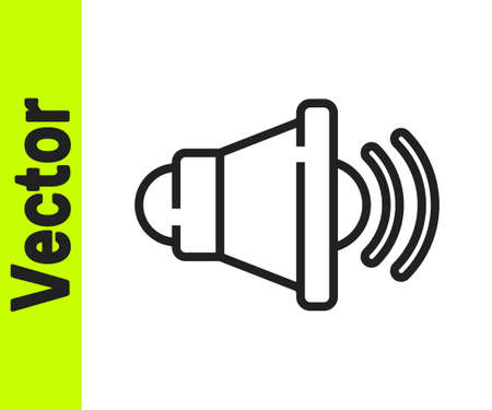 Black line Speaker volume, audio voice sound symbol, media music icon isolated on white background. Vector  イラスト・ベクター素材