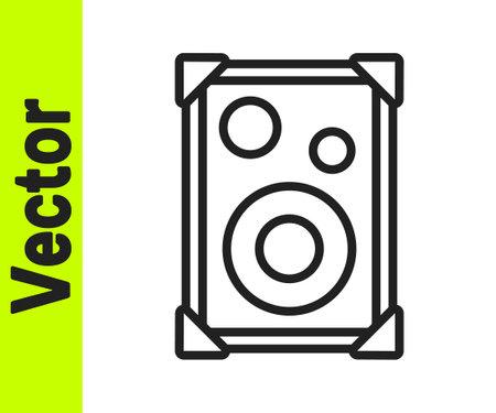 Black line Stereo speaker icon isolated on white background. Sound system speakers. Music icon. Musical column speaker bass equipment. Vector  イラスト・ベクター素材