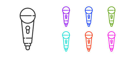 Black line Microphone icon isolated on white background. On air radio mic microphone. Speaker sign. Set icons colorful. Vector