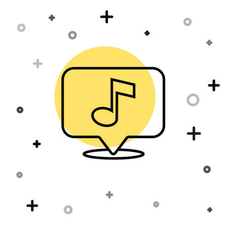 Black line Musical note in speech bubble icon isolated on white background. Music and sound concept. Random dynamic shapes. Vector  イラスト・ベクター素材