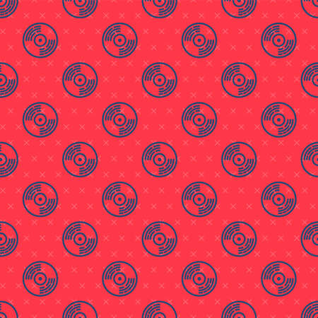 Blue line Vinyl disk icon isolated seamless pattern on red background. Vector  イラスト・ベクター素材